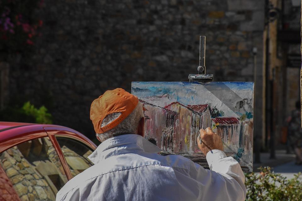 malarz przy pracy